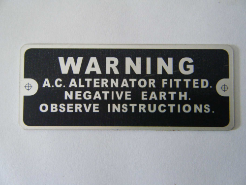 'Warning alternator fitted' plate